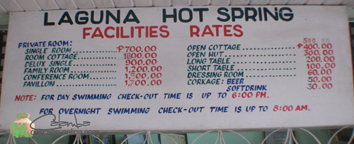 Atop are the rate for reference. Entrance at the resort is P 60.00.