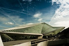 Spaceship Under Attack ! (at Liege Guilemins) (Gilderic Photography) Tags: sf road street city blue santiago sky urban cloud cinema glass station architecture lumix europe raw mood belgium belgique belgie gare perspective structure panasonic story trail ciel calatrava future scifi sciencefiction nuage cinematic liege luik lightroom trainee futurist guillemins luttich gilderic lx3 dmclx3