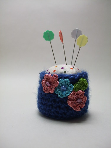 Tiny Blue Crochet Pin cushion