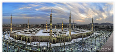 A-Panoramic-view-of-the-the Holy Prophet's Mosque (ArabianLens.com) Tags:      outdoorsphotography    religionnikond300roofshadow