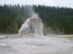 An uncommon view of Lone Star Geyser.  This photo is more or less from the back, looking towards the trail.