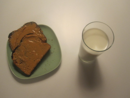 PB toasts and milk