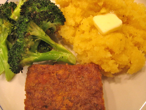 Meatloaf, rutabaga, broccoli