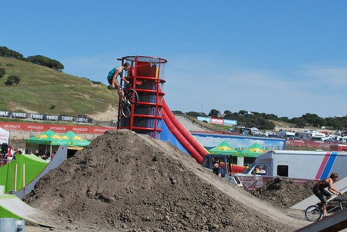 A stunt at the SRAM Dual Stunt area