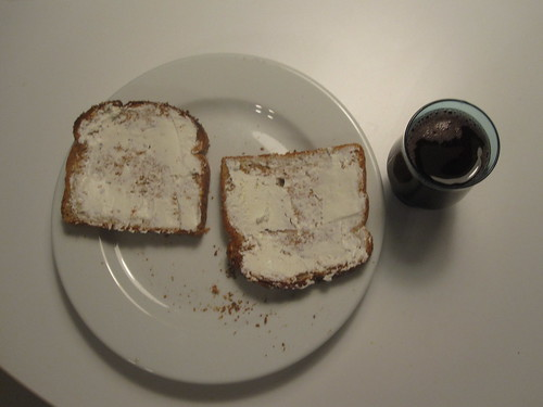 Cream cheese toast, grape juice
