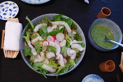 Salad with tarbot and wasabi dressing
