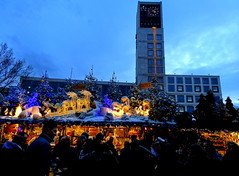Christmas markets at Rathaus Stuttgart (SerenadeS) Tags: christmas trees winter decorations lights stuttgart markets rathaus deers stalls