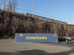 I had a vision of dongnama. (Tim Kiser) Tags: 2014 20141226 december december2014 dongnama dongnamashippingcontainer fairmontmetropolitanarea img4641 koreanshippingcontainer marioncounty marioncountywestvirginia southkoreanshippingcontainer starfurniture starfurnituremattress starfurnitureandmattress walmart walmartparkinglot westvirginia westvirginialandscape whitehall whitehallwestvirginia whitehalllandscape blueandyellow blueandyellowshippingcontainer blueshippingcontainer bluewithyellowletters businesssign cars cloudlesssky container containerization electriclines electricpoles furniturestore furniturestoresign hillside landscape morningsun northernwestvirginia paintedsign parkedcars parking parkinglot parkinglotlandscape parkingspaces paved pavement powerlines shippingcontainer steephillside sunny telephonepoles utilitypoles view wetpavement wholesalecarpet woodedhillside