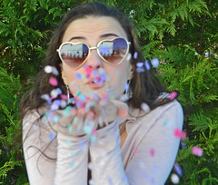 45/365, spread love around (nicastro_ashley) Tags: 365photo 365 happyvalentinesday valentines valentine confetti portrait photography photoproject portraitphotography positive pink heart hearts love happiness kindness trees outdoors