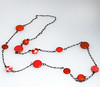 Red Pink And Orange 'smarties' Necklace With Paper Beads