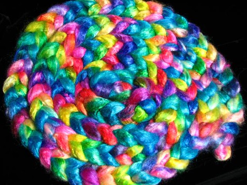 Tropical Rainbow Tussah Silk Sliver Roving Top