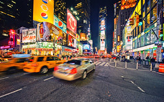 Times Square Traffic (Philipp Klinger Photography) Tags: street new york city nyc trip travel blue light shadow red sky people orange usa holiday ny motion blur color colour green cars car tarmac yellow architecture night america skyscraper dark ads advertising square us swatch nikon colorful long exposure theater traffic state bright theatre manhattan district cab taxi united ad broadway vivid pop advertisement empire times pepsi states colourful asphalt philipp sigma1224mm dri hdr overkill klinger d700 newyorkiloveyou dcdead