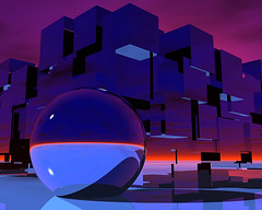 ~ Reflecting a Moment ~ (ViaMoi) Tags: desktop wallpaper canada reflection art modern ball design ottawa orb canadian chrome sphere cubes redsky dualscreen viamoi