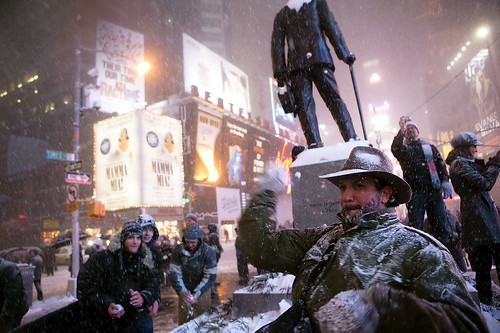 snowball fight in times square