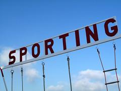 Sporting 1 (wolfgangp_vienna) Tags: blue sea sky france frankreich meer village letters himmel swing blau bayonne saintjeandeluz schaukel stjeandeluz schriftzug pyrénéesatlantiques marcantabrico kleinstadt golfvonbiskaya kantabrischesmeer
