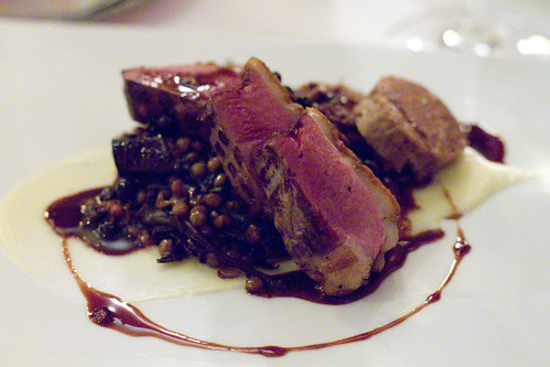Duck Brest, lentils, and duck contechino