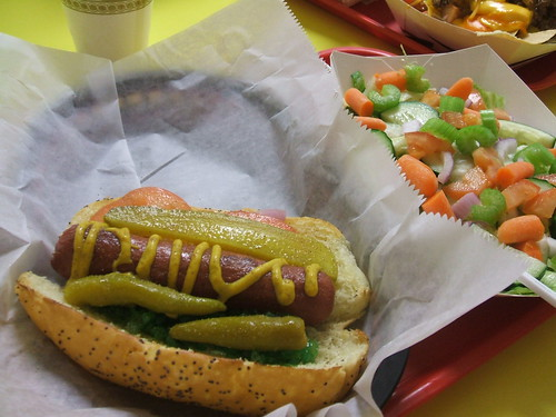 Chicago dog and salad