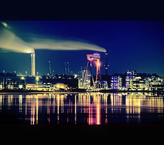 Night Scene (Faisal!) Tags: blue light sea chimney cold ice lamp gteborg frozen flickr crane smoke gothenburg places steam flare nightshots refelection toning