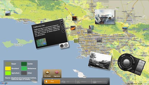 Screen shot of the multitouch Google/Flickr mashup showing vegetation patterns in the LA Basin