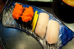 Hamachi and smelt roe nigiri.