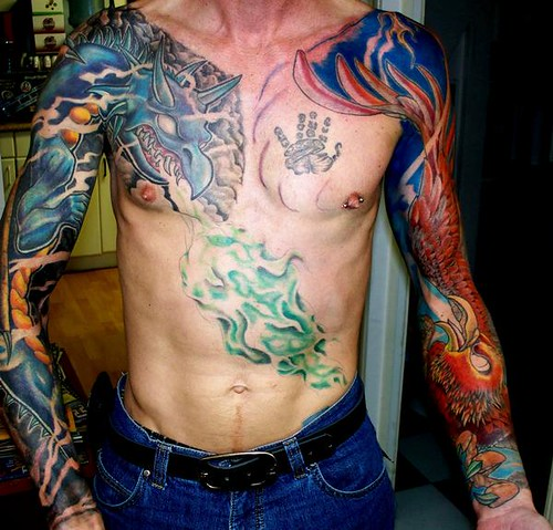 Dragon and Pheonix Sleeves tattoo. Dragon and phoenix sleeves