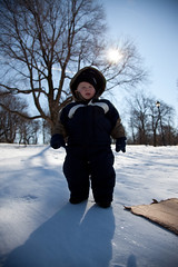 Sunny Disposition (bryanfalling) Tags: winter snow flash wide backlit snowsuit