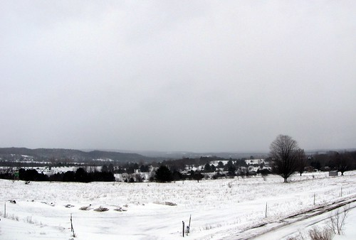 Panorama from my Dad's deck during a snow flurry