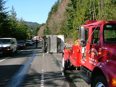 Overturned trailer blocking I-5 lanes