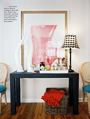 Lizzie Bailey (It's Great To Be Home) Tags: pink black gold pattern horns entryway tray parson styling lonny consoletable