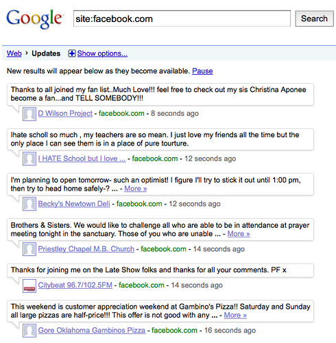 That configures Google Real Time Search to show only updates from Facebook,