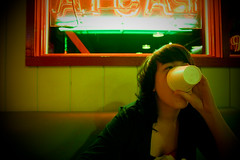 Bacci's Pizza (jillianlynnpowers) Tags: red food brown white green cup window girl booth hair pizza resturant blazer mchenry greentint jillianlynnpowers baccipizza kelseypangelinan