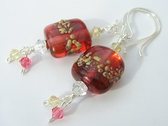 Hot Shore (Glittering Prize - Trudi) Tags: pink glass yellow beads crystal handmade jewellery swarovski earrings jewelery trudi lampwork jonquil sterlingsilver glitteringprize