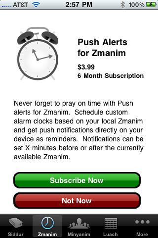 Push Zmanim Notifications for iPhone Siddur