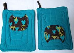Turquoise Cat Potholders