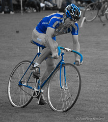 Blue Cyclist (FotoFling Scotland) Tags: bike crieff crieffhighlandgathering event highlandgames scotland cyclist cyclists grass helmet helpinghand lycra perthshire