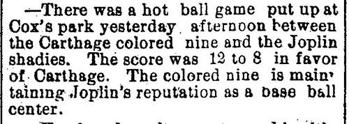 A brief score from an African American baseball team in 1896 Joplin, Missouri
