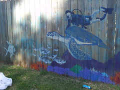Sea Turtle section of Pamela Raintree's mural (Kathryn Usher) Tags: louisiana highland publicart shreveport lsus southhighland pamelaraintree highlandandelmwood lamoynebatten