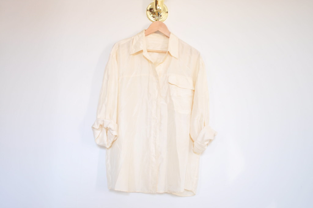 vintage one pocket cream silk shirt