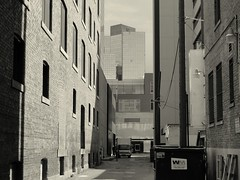(Saint Groovus Maximus) Tags: street white black brick glass dumpster downtown edmonton towers walls urbanalley