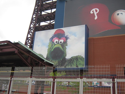 Phillie Phanatic on the wall of Citizens Bank Park