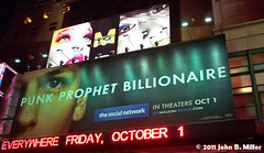 Social Network (jmillerdp) Tags: street city nyc newyorkcity urban ny newyork color night digital ads movie advertising downtown exterior kodak manhattan interior ad socialnetwork billboard advertisement midtown timessquare movies facebook dc280