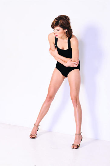 White background Studio Fashion Photography, Body suit, long legs
