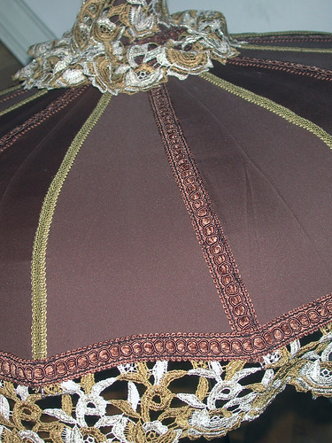 Brown Steampunk OOAK Parasol with gold/brown/ivory trim & lace