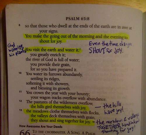 Notes on Psalm 65: shouting for joy