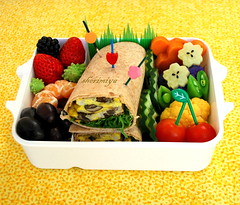 Omelet Wrap Bento (sherimiya ) Tags: school fruits kid healthy sweet tomatoes sheri egg strawberries wrap potato homemade grapes cauliflower mandarin bento tortilla omelet satsuma obento peapods sherimiya
