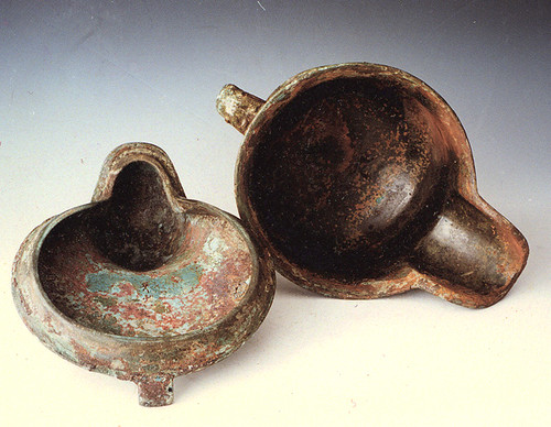 Lidded you jar from the Changzikou Tomb in Luyi county, Henan province, dated ca. 1250–1000 B.C.--here opened. (Photograph courtesy of Z. Zhang and Institute of Cultural Relics and Archaeology of Henan Province).