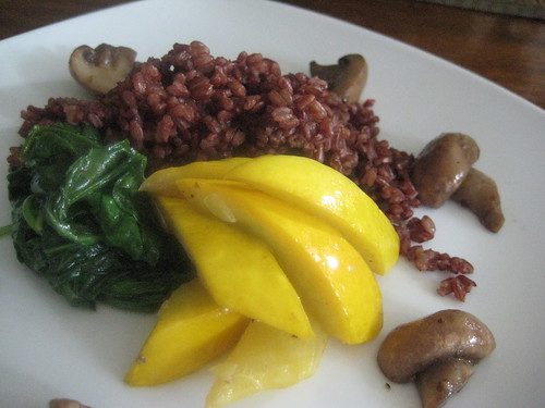 Red Rice, Yellow Squash, Spinach, Mushrooms