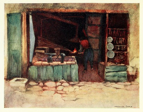 022-Una herreria en Estambul- Constantinople painted by Warwick Goble (1906)