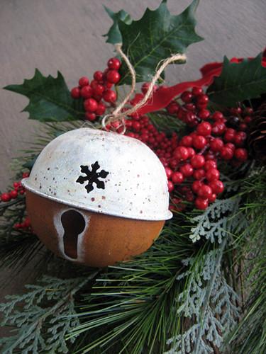 Rustic Snowflake Bell Ornament