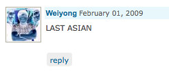 "winning an online award for most annoying comments "" FIRST ASIAN"